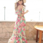 Summer Maxi Dress-Chiffon |   แม็กซี่เดรสผ้าชีฟองพิมพ์ลายแบบเปิดไหล่  แฟชั่นเกาหลี
