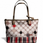 COACH POPPY TOTE IN WATERCOLOR DOT PRINT # 25124 สี BRASS/NEUTRAL