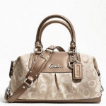 Coach ASHLEY 3 COLOR SIGNATURE SATCHEL #18425 SILVER/TAN MULTI