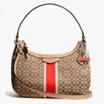 Coach Signature Stripe 6CM Demi Crossbody # 26981 สี Khaki/Hot Orange