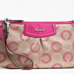 Coach Ashely Dotted Op Art Large Wristlet # 48053 สี Khaki Pink