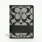 Coach Signature Stripe Passport Case Holder Wallet # 61768 สี Black White