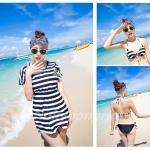 Swimsuit with cover 3pcs  |  ชุดว่ายน้ำแฟชั่นแบบบิกินี่พร้อมเสื้อตัวนอก เซ็ต 3 ชิ้น