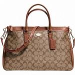 Coach Morgan Satchel In Signature Handbags # 34617 สี Light Gold/Khaki/Saddle