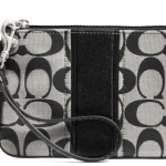 COACH SIGNATURE STRIPE SMALL WRISTLET # 49174 สี Black White