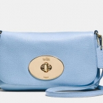 Coach liv pouch crossbody in pebble leather # 52896 สี LI/Pale Blue