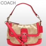 Coach Campbell Signature Twill Convertible Hobo # 28902 สี Silver/Khaki/Pomegranate