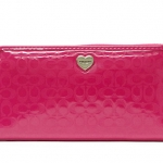COACH PERFORATED EMBOSSED LIQUID GLOSS ACCORDION ZIP WALLET # 51675