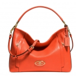 COACH SCOUT HOBO IN PEBBLE LEATHER # 34312 สี LIGHT GOLD/CORAL