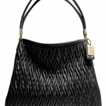 COACH MADISON PHOEBE SHOULDER BAG IN GATHERED TWIST LEATHER # 25260 สี BLACK