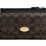 Coach Sign PVC Slim Envelope Wallet/Pouch # 52601 สี LIGHT GOLD/BROWN/BLACK