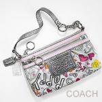 Coach Bag Poppy Graffiti Wristlet Purse # 43601