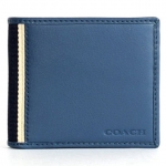 Coach 74688 Men's Heritage Web Leather Compact Id Wallet # 74549 สี Silver/marine