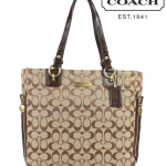 Coach GALLERY SIGNATURE ZIPPER TOT # 19388 สี Khaki Mahogany