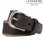 Coach Men Webbed Leather Belt # 90267 สี Dark Brown