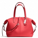 Coach Bleecker Cooper Satchel in Pebbled Leather # 27930 สี SILVER/LOVE RED