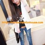 [พร้อมส่ง] เสื้อคลุมสูทสีขาวแฟชั่นเกาหลี ผ้าไม่หนามาก แต่มีซับในค่ะ