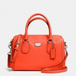 COACH CROSSGRAIN LEATHER MINI BENNETT SATCHEL # 33329 สี SILVER/CORAL