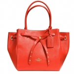 COACH TURNLOCK TIE SMALL TOTE IN REFINED PEBBLE LEATHER # 35838 สี Light Gold/Watermelon/Grey Birch