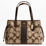 COACH SIGNATURE STRIPE CARRYALL # 21949 สี B4/Khaki/Mahogany