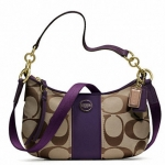 COACH SIGNATURE STRIPE DEMI CROSSBODY # 23544 สี Brass/Khaki/Purple