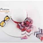 หมวกแฟชั่นเกาหลี หมวกกันแดดทรงปีกกว้าง : สีขาว BH0004