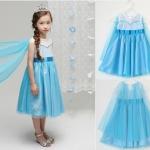 "size 110""พร้อมส่ง""เสื้อผ้าเด็กสไตล์เกาหลีราคาถูก Brand Baby show ชุดแฟนซี Frozen ELSA เดรสเสื้อสีขาวแขนกุด ต่อกระโปรงสีฟ้า คลุมผ้าตาข่าย ด้านหลังต่อผ้าตาข่าย สวยค่ะ"