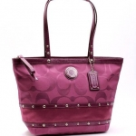 COACH STUDDED SATEEN STRIPE TOTE # 20014  SILVER /BERRY