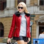 เสื้อกันหนาวไซส์ใหญ่ หนังPU บุด้านในด้วยขนแกะ ชายเสื้อแต่งผ้าลูกไม้ สีแดง/สีดำ (XL,2XL,3XL,4XL,5XL)
