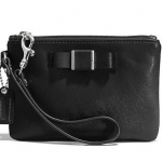 COACH DARCY BOW SAFFIANO LEATHER SMALL WRISTLET/BAG # 51672 สี SILVER/BLACK