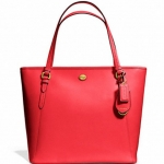 COACH PEYTON LEATHER ZIP TOP TOTE # 27349 สี BRASS/PERSIMMON