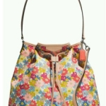 Coach Signature Stripe Floral Print Drawstring Shoulder Bag # 28922