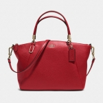 COACH SMALL KELSEY CROSSBODY IN PEBBLED LEATHER # 33733 สี Light Gold/Red Currant