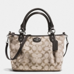 coach colette signature mini fashion satchel # 33416 สี SILVER/KHAKI/MAHOGANY