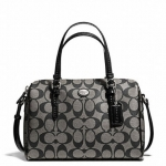 COACH PEYTON SIGNATURE BENNETT MINI SATCHEL # 49862 สี SILVER/BLACK/WHITE