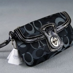 Coach Optic Signature Capacity Large Flap Wristlet # 43916 สี Black