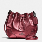 Coach Baby Mickie Drawstring Shoulder Bag in Grain Leather # 35363 สี METALLIC CHERRY