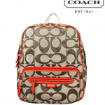 COACH DAISY OUTLINE SIGNATURE BACKPACK  # 24367 สี KHAKI/VERMILLION