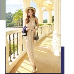 Summer Maxi Dress-Chiffon |  แม็กซี่เดรสสายเดี่ยวผ้าชีฟองพิมพ์ลาย แฟชั่นเกาหลี