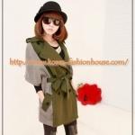 [พร้อมส่ง][CJ07]เสื้อคลุมตัวยาวแบบเกาหลี สีเขียวทหาร