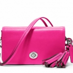 COACH LEGACY LEATHER PENNY SHOULDER PURSE # 19914 สี SV / Fuchsia