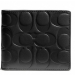 COACH SIGNATURE EMBOSSED LEATHER COMPACT ID WALLET# 74686 สี BLACK