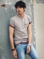 เสื้อยืดคอกลมกระเป๋าเสื้อขลิบหนังแฟชั่นผู้ชายเกาหลีมี3สี