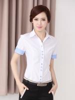 เสื้อเชิ้ตทำงานแขนสั้น สีขาว พร้อมโบว์สีฟ้า