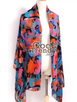 ผ้าคลุมไหล่แฟชั่น Retro Graphic : สีน้ำเงิน ผ้า silk chiffon size 170*70 cm