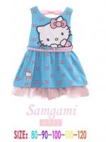 ชุดกระโปรงสีฟ้าลาย Kitty + เข็มขัด