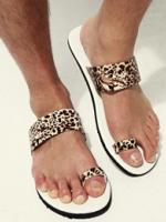 รองเท้าแตะลายเสือสุดเท่แฟชั่นผู้ชายจากเกาหลีมี2สี