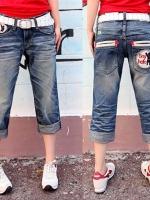 กางเกงยีนส์ขาสามส่วนพับปลายขา ปักรูปกระเป๋าหลัง L XL 2XL 3XL 4XL