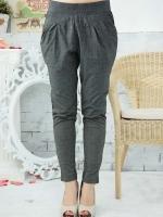 กางเกงขายาวผ้ายืด เอวยืด สีเทา XL 2XL