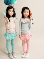 ชุดเสื้อลายจุด + กางเกงเลคกิ้งกระโปรง ผ้าเด้งเนื้อนุ่มลื่น (สีชมพู)